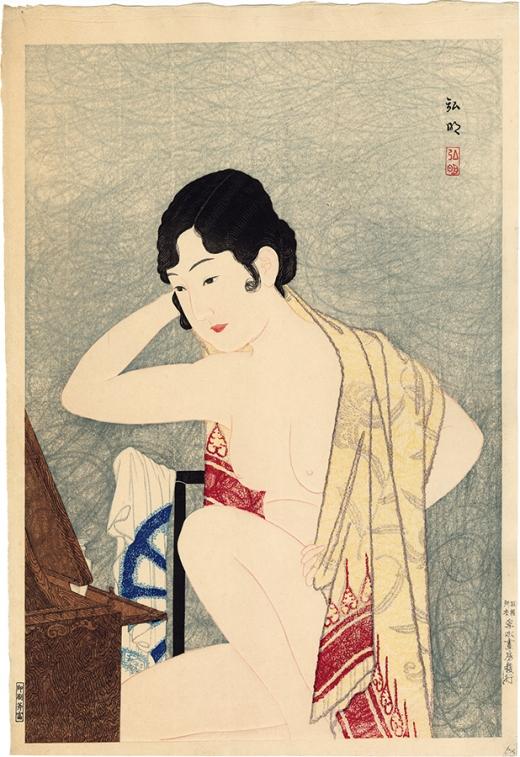 Kawase Hasui (1883-1957). Nagare Pleasure Quarter, Kanazawa. 1920.