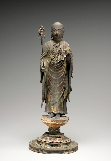 Unknown, Standing Jizō Bosatsu (Skt: Kṣitigarbha Bodhisattva), Japan, 13th century. Wood and metal with color and gold. H. with base: 18 5/16 in. (46.5 cm).