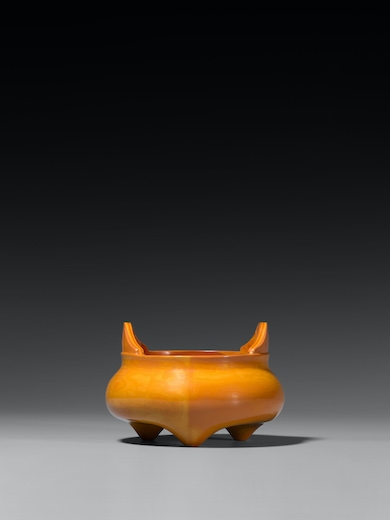 AN IMPERIAL REALGAR-IMITATION GLASS TRIPOD CENSER  Mark and Period of Qianlong (1736-1795)  Diameter 4 1/4 inches (10.5 cm)