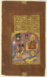 Rustam before Kai Kavus having knocked down Tus